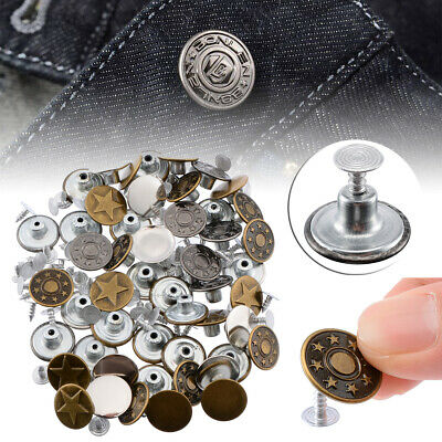 AU 50 Set Denim Jacket Jeans Button 17mm Metal Tack Snap Fastener Studs Jeans