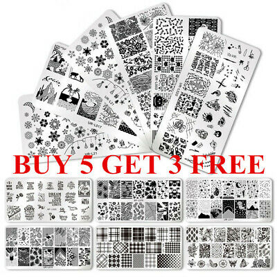 BORN PRETTY Nail Stamping Plates Rose Flower Geometry Nail Art Templates Image