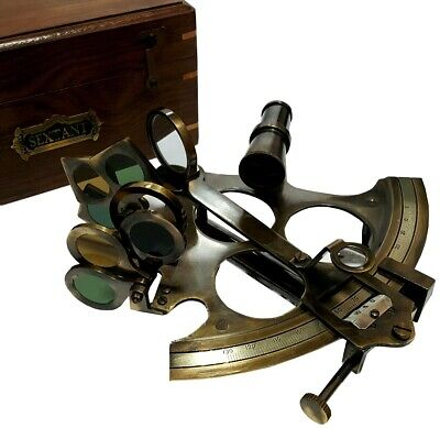 Antique Ship's Navigation Instrument Vintage Solid Brass Nautical Sextant NS 06