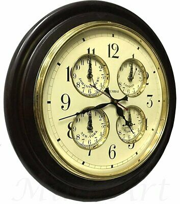 Time Piece Antique Five Time Zones Multi-Functional Wooden Wall Clock Wc 011