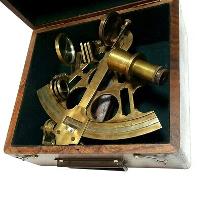 "Made For Royal Navy London Heavy Brass 6"" Large Antique Nautical Sextant NS 07"