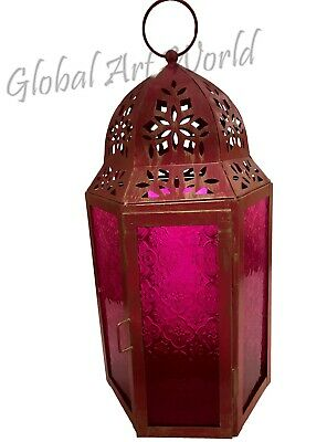 Mid-Size Table Hanging Hexagon Moroccan Candle Lantern Holders Rose Pink ML 036