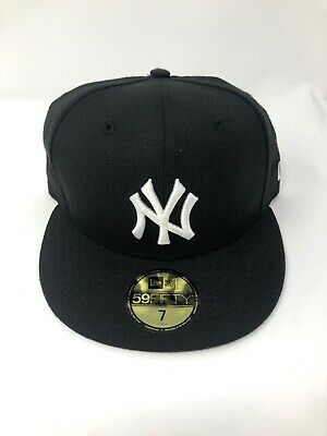 319d4aeeb1a52 New York Yankees New Era 59FIFTY Black White Fitted Size 7 Hat Cap MLB 100