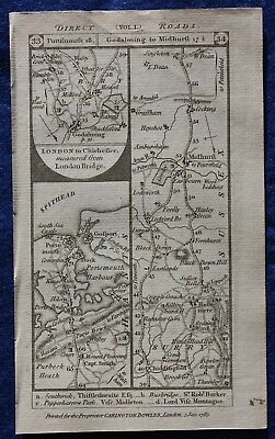 Original antique road map HAMPSHIRE, SUSSEX, MIDDLESEX, PORTSMOUTH Paterson 1785