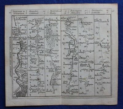 Original antique road map LONDON, HENLEY, DORCHESTER, FARINGDON, Bowles c.1792