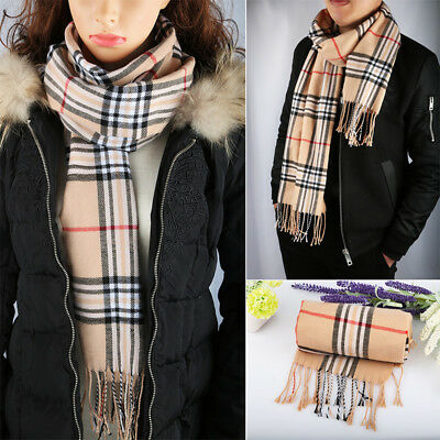 Unisex Men's/Women's Tartan Plaid Beige Warm Scarf Plaid Scarf Soft Winter Shawl