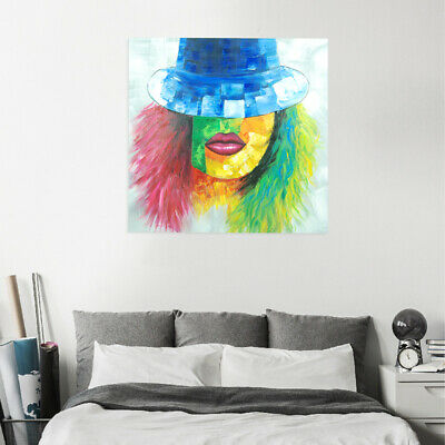 Abstract Hand Painted Canvas Oil Painting Modern Wall Art Home Decor Framed Lady