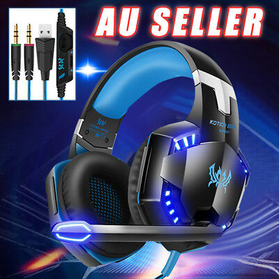NEW 3.5mm Gaming Headset MIC LED Headphones for PC Mac Laptop PS4 Xbox One yw