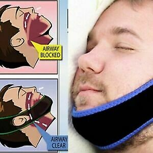 Anti Snore Aid Sleep Apnea Stop Snoring Strap Belt Jaw Solution Chin Support _UK