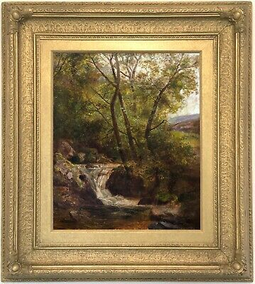 Kingfisher on River Llugwy North Wales Oil Painting Alfred Banner (fl.1880-1915)