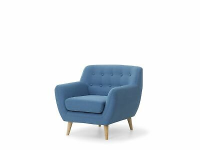 Mid Century Living Room Armchair Upholstered Button Tufted Blue Motala