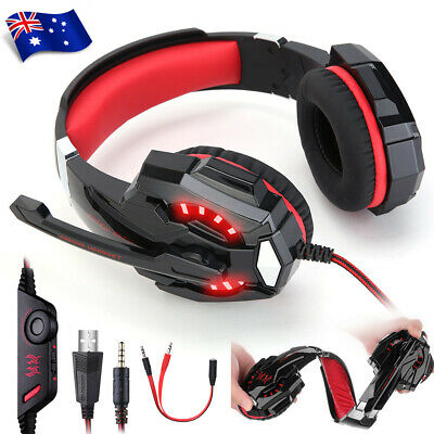 EACH 3.5mm MIC Gaming Headset LED Headphones for Mac Laptop PS4 Xbox One BZ