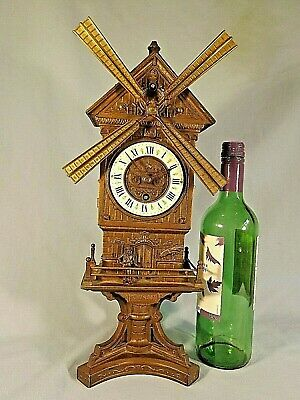 Rare Original Rotating Windmill Clock Working Condition.