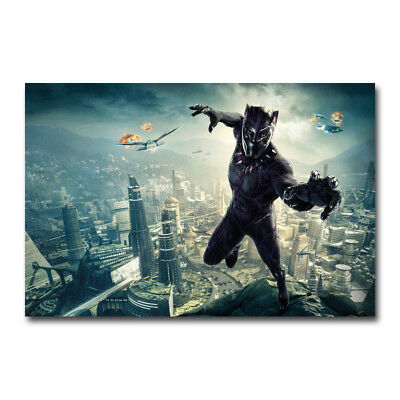 Black Panther Movie Cast 2018 Marvel Art Silk Canvas Poster 12x21 24x43 inches