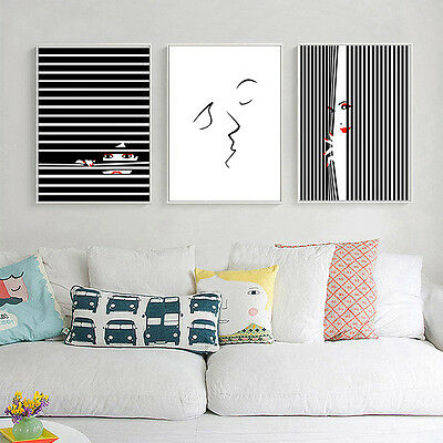 Abstract Kiss Canvas Poster Prints Nordic Minimalist Art Home Wall Decor