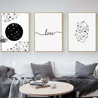 Black White Geometry Abstract Canvas Poster Nordic Minimalist Art Wall Decor
