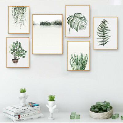 Watercolor Plants Leaves Canvas Poster Picture Print Nordic Art Wall Decor