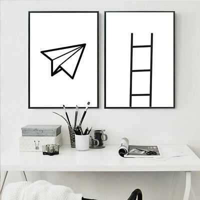 Black White Abstract Canvas Art Posters Minimalist Print Home Wall Decor