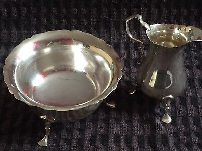Antique Victorian Sterling Silver Sugar Bowl And Creamer