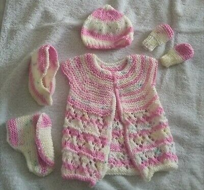 Girls hand knitted baby set