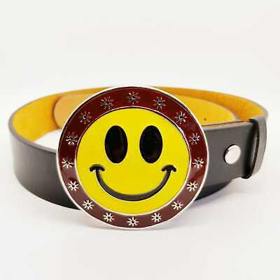 Smiley Face Belt Buckle Chrome Enamel Classic Happy Retro Acid Emoji Feeanddave