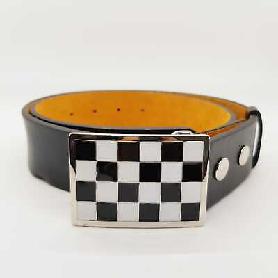Chequered Belt Buckle Biker Gothic Punk Black White 2Tone Mod Metal Mens Womens