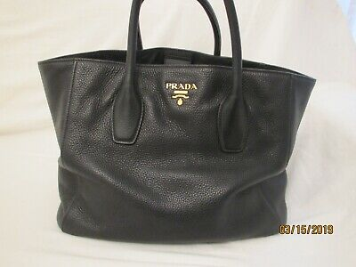 81146f99f8e4 Prada Black Pebbled Leather Tote Fully Lined. Separate Shoulder Strap!  Fabulous!