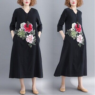 Chinese Style Ladies Women Embroidered Flower Cotton Linen Vneck Casual Dress Sz