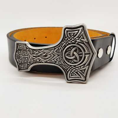 Thors Hammer Belt & Buckle Mjolnir Viking Odin Celtic Knotwork Pagan feeanddave