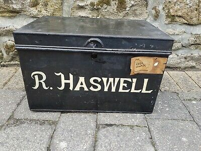 """Large Vintage Metal Deed Box Storage Tin Chest Signwritten """"R.HASWELL"""""""