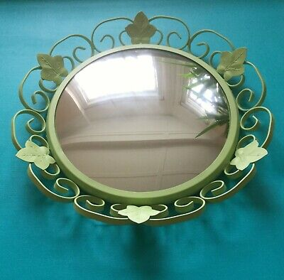 Pale Green 1950's Vintage Wrought Iron Convex Mirror: Scrolls & Ivy Leaves 41 cm
