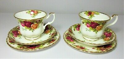 Pair Of Royal Albert Old Country Roses Teacup, Saucer & Side Plate Trios