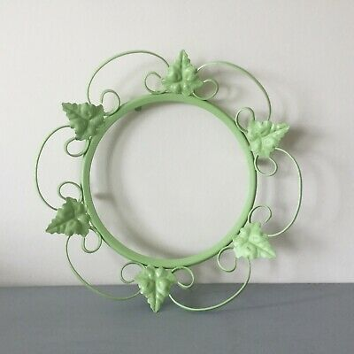 Vintage 1950's Wrought Iron Picture/Mirror Frame; Pale Green Ivy & Scrolls 36 cm