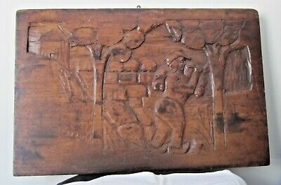 Vintage Large Hand Carved Solid Walnut  Wall Plaque.  Estate Find, No Reserve