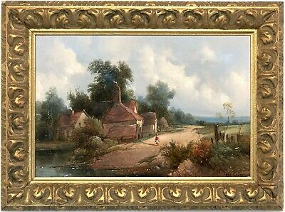 A Rural Landscape Antique Oil Painting by Alfred H. Vickers (fl.1853-1907)