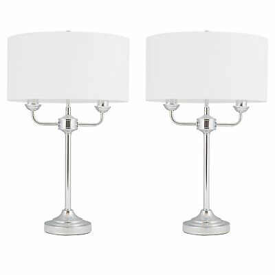 Pair of Modern Classic Polished Chrome Twin Arm Table Lamp Bedside Cream Shades