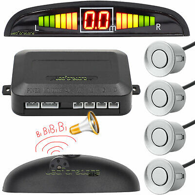 Silver Car Rear Reverse Radar 4 Parking Sensors Audio Alarm Aid Kit LED Display