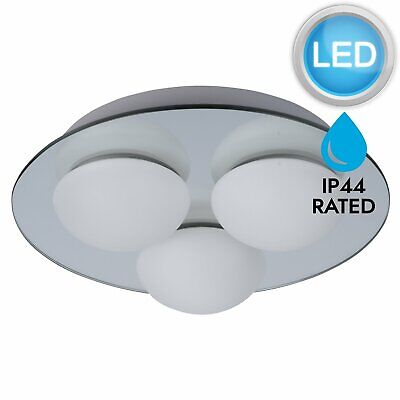 Modern Silver Mirror & Glass Flush Bathroom Ceiling 3 Lt IP44 with LED Bulbs