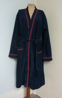 Vintage 60's MOD MEN Triacetate/Nylon Navy Red Stripe Dressing Gown BHS M/L