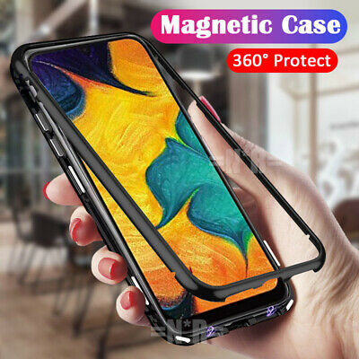 Samsung Galaxy A20 A30 A50 A70 Magnetic Case Metal Frame Tempered Glass Cover