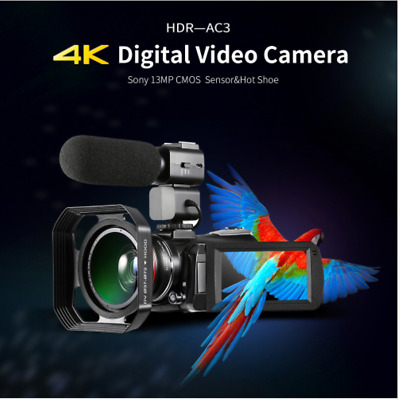 4K Camcorder, ORDRO AC3 Ultra HD Video Camera 1080P 60FPS WiFi Camera and IR IPS