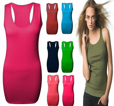 Pack of 1 Women Ladies Girls Plain Ribbed Stretchy Strap Summer Vest Top T Shirt
