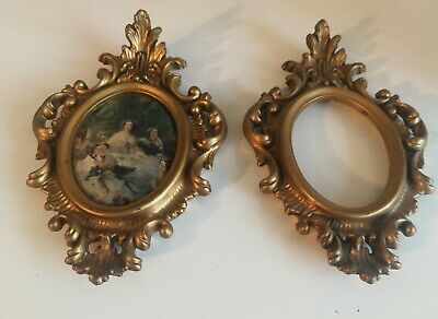 Vintage Pair of Gold Small Size Gilt Ornate Baroque Rococo Oval Picture Frames