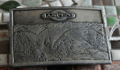 "1973 Vintage ""Aspen, Colorado, Usa"" Brass Belt Buckle In Used Cond. Ma43"