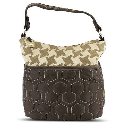 Travelon F09710 848000 Quilted Nylon Zip-Top Train Case Brown/Houndstooth
