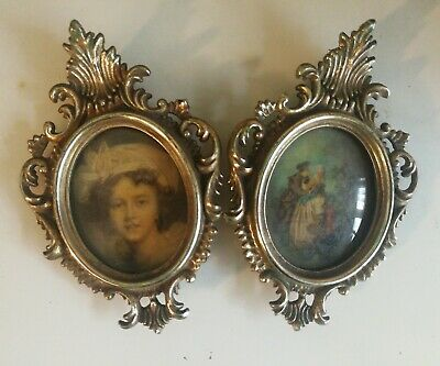 Vintage Pair of Gold Small Size Gilt Ornate Antique Rococo Oval Picture Frames