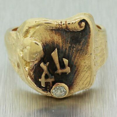 Antique Art Deco 14k Solid Yellow Gold 0.10ctw~ Initial AL Signet Ring