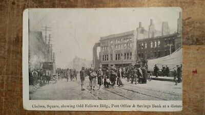 1908 Chelsea MA Square Fire, Showing Odd Fellows, Post Office & Savings Bank PC