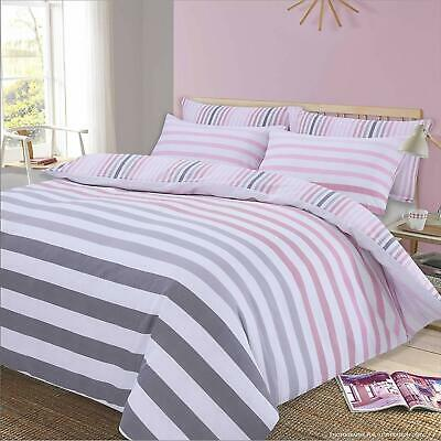Dreamscene Stripe Duvet Cover with Pillow Case Reversible Bedding Set, Fade Pink
