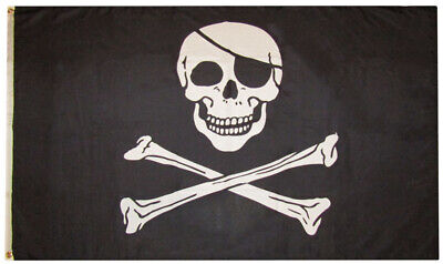 3x5 Pirate With Eye Patch Black 3'x5' Premium Rough Tex 100D Oxford Poly Flag
